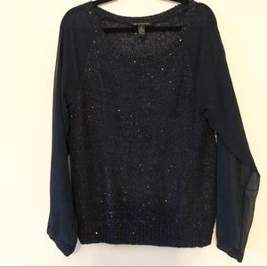 INC sequin sweater with sheer sleeves
